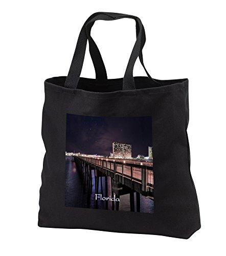 Florida - Image of Panama City Pier At Night - Tote Bags - Black Tote Bag 14w x 14h x 3d - Panama City Beach Shopping
