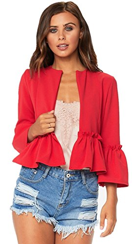 3/4 Sleeve Bell Trumpet Flared Flare Sleeve Buttonless Ruffled Ruffle Hem Peplum Suit Blazer Coat Jacket Top Red M