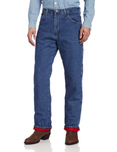 Wrangler Rugged Wear Men's Woodland Thermal Jean ,Stonewashed Denim,44x32
