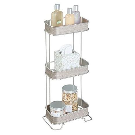 mDesign Repisa para baño de metal y madera - Baldas para baño para accesorios de baño