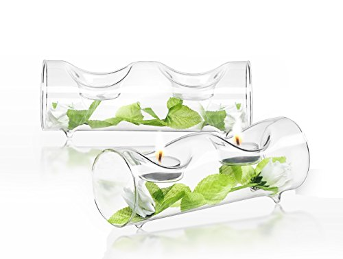 JoyJolt Set of 2 Double Clear Glass TeaLight Candle Holders Centerpiece TeaLight Holder - Leaf Tealight Holders