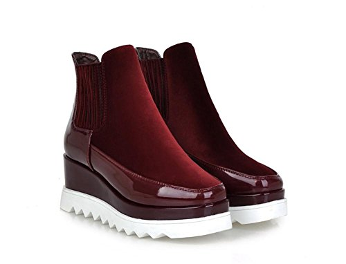 NVXIE Women Ankle Boots Martin Shoes Fall Winter Black Flats Scrub Thick Bottom Wedges Square Head WINERED-EUR37UK455 jYhqApf8