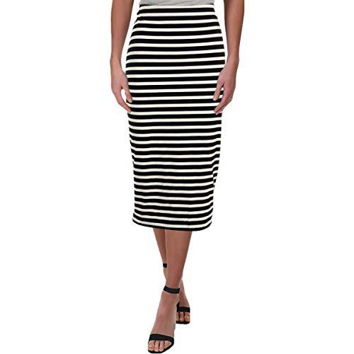 LAUREN RALPH LAUREN Womens Striped Stretch Midi Skirt Black-Ivory L