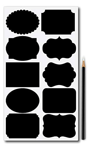 Nourish 80 Peices in 10 Styles Chalkboard Sticker Labels