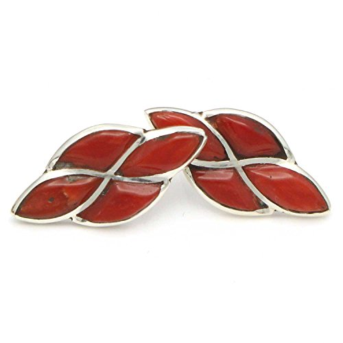 Zuni Sterling SilverChannel Inlay Coral Stud Earringw Handcrafted By D. Chavez ()