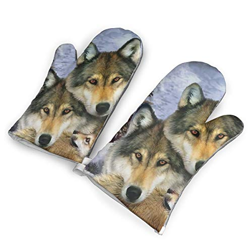 HDGASUG Oven Mitts 1 Pair, Wolf Harmony Wildlife Animal Mini Mitts Heat Resistant for Handling Hot Kitchen/Bakeware Items