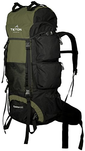 TETON Sports Explorer 4000 Internal Frame Backpack; High-Performance Backpack for Backpacking, Hiking, Camping 2 NOT YOUR BASIC BACKPACK: Continues to be the top selling internal frame backpack on Amazon at a great price for all the included features VERSATILE QUICK TRIP PACK: Perfect backpack for men, woman and youth; best for 3-5-day backpacking trips; 3400 cubic inches (65 L) capacity; weighs 5 pounds (2.3 kg) COMFORT YOU CAN CUSTOMIZE: Multi-position torso adjustment fits wide range of body sizes; Durable open-cell foam lumbar pad and molded channels provide maximum airflow and balance