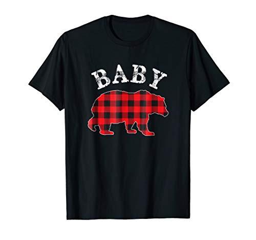Red Plaid Baby Bear Buffalo Matching Family Pajama T-Shirt