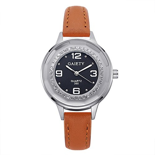 Unique Analog Quartz Wrist Watch Business Casual Faux Leather Band Dress Wrist Watch with Simple Rhinestone Decoration(Light Coffee)