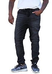 REVOL MEN'S TWILL / DENIM DROP CROTCH HAREM JOGGER PANTS, Small SG002-BLACK