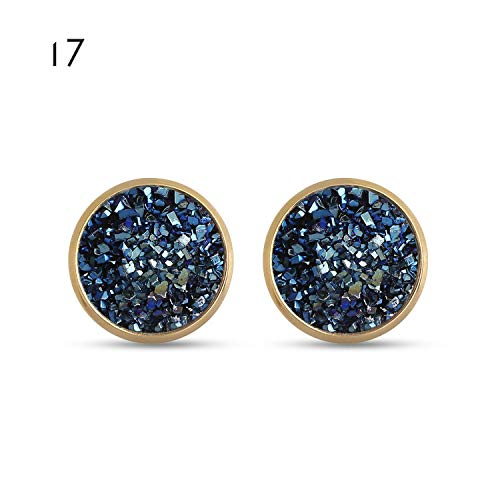 6 Pairs/Set Femme 12mm Round Silver Druzy Quartz Stud Earrings Set Bling Sparkly Crystal Rhinestone Ear Studs Charm Jewelry,17 ()