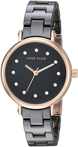 Anne Klein Women's AK/3312BKRG Swarovski Crystal Accented Rose Gold-Tone and Black Ceramic Bracelet Watch