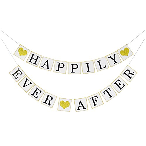 Wedding shower decorations amazon happily ever after banner sign gold glitter heart wedding engagement bridal shower party decorations photo props junglespirit Choice Image