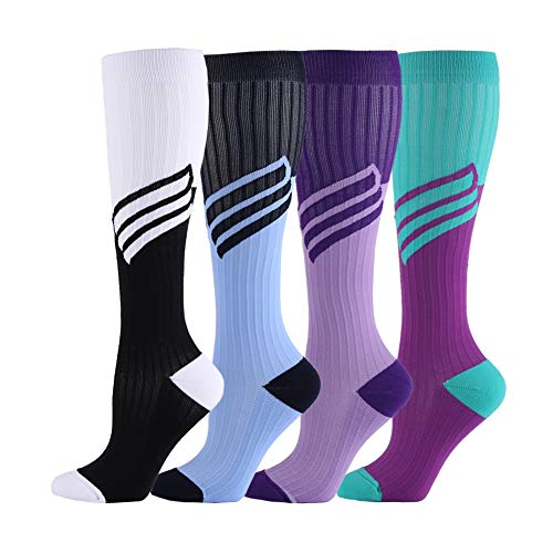 - HLTPRO Compression Socks for Women & Men - 1 to 6 Pairs 20-30 mmHg Medical Support Knee High Compression Stockings for Travel, Running, Nurse, Shin Splints