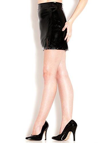 Minigonna Skater Donna Spacco sulla Coscia PVC Nero Tutte le Taglie