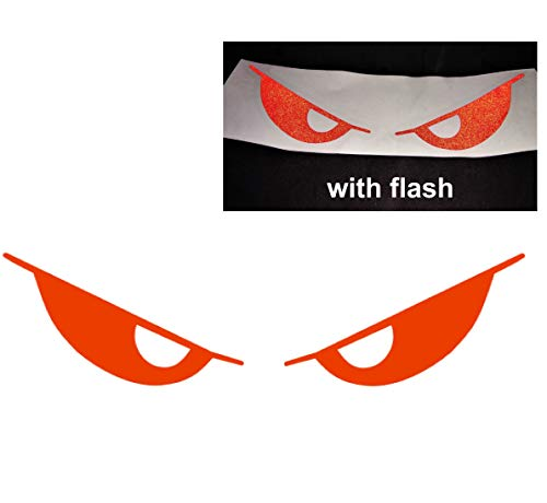 - Red Evil Eyes No Fear Decal Reflective Safety Reflector Devil Demon Sticker 6