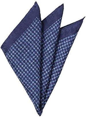 (ザ・スーツカンパニー) MADE IN ITALY/ハウンドトゥース柄シルクポケットチーフ ネイビー×ブルー