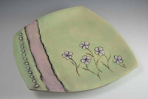 Ceramic, Large 'Not-quite-Square' light green, lilac, black, pastel Tray / Platter / Server, with a gorgeous Floral design, Pottery Earthenware Server