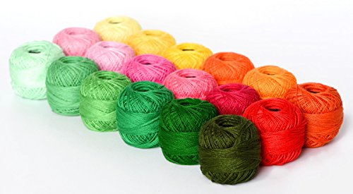 18 Balls Soft 10g Cotton Balls Rainbow Colors of Size 8 Perle/pearl Cotton Threads for Crochet, Hardanger, Cross Stitch, Needlepoint Hand Embroidery. All Different Colors (Suit 10) (Perle Cotton Balls)