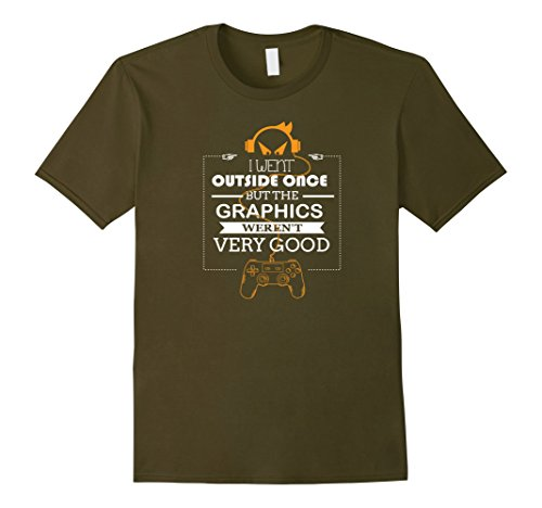 Men's Went Outside Graphics Not Good TShirt Geeks Computer Gamers Medium - Crowd Guys T-shirt