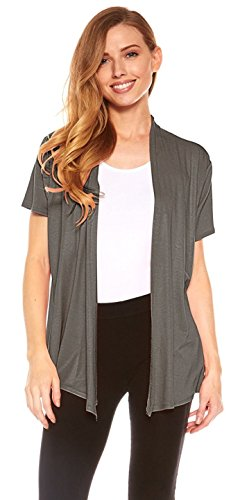 Red Hanger Cardigans for Women - Short Sleeve Womens Open Cardigan Sweaters (Charcoal-XL) ()
