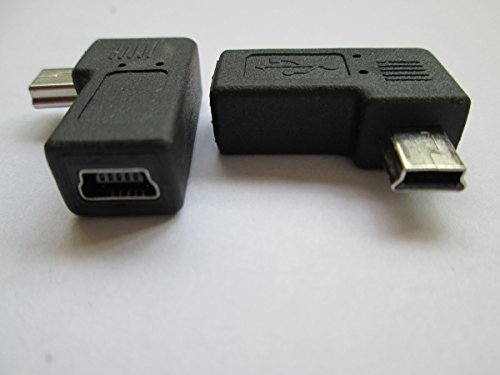 Price comparison product image Pair 90degree B Left Right Angle Mini Usb Male to Mini Female Connector Adapter