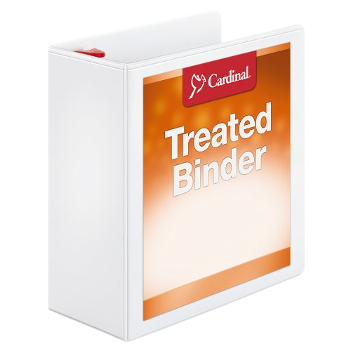 Cardinal Treated Binder ClearVue Locking Slant-D, 4 Inch, White (32140)