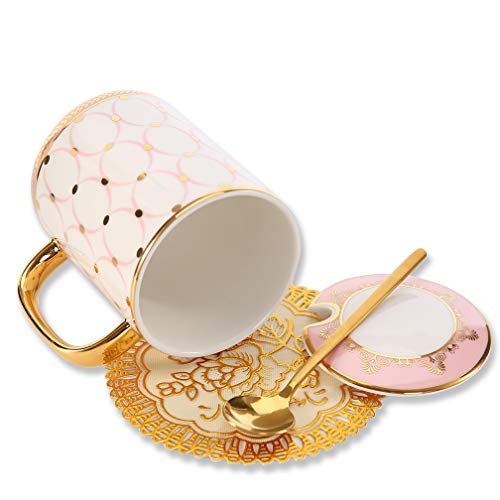 ALODZ Ceramic Mug with Lid and Spoon, Novelty Court Style Tea Cup/Coffee Mug with Gift Box for Coffee Tea Milk Water Wine Vodka, Pink, 12 OZ ()