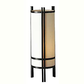 Cylindrical Table Lamp in Ivory & Black Finish