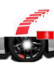 """Car Wheel Decals Stickers, 6 PCS Reflective car Stickers, Universal Fit 18""""-21"""" Wheels Decoration Line Stickers, Night Safety Decoration Stripe Universal Reflective Rim Stickers - Red"""