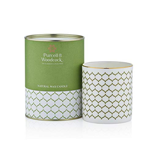 Purcell & Woodcock Handpoured Beeswax, Rapeseed and Soy Wax Ethically Soured Candle in Fine Bone China Holder (Irish Family Owned Company) (Sea Moss & Cool ()