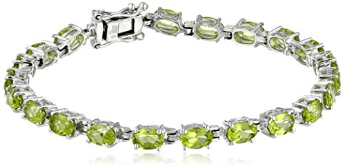 (Peridot Oval Cut Tennis Bracelet in Sterling Sillver (9.4 cttw))
