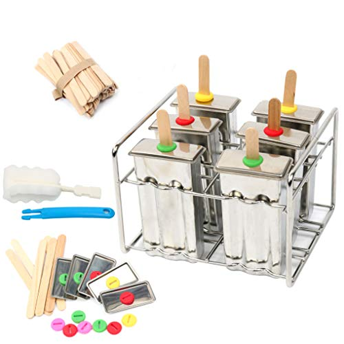 Yaekoo Set of 6 Stainless Steel Popsicle Mold and Rack Set - Homemade Ice Treat Makerwith 50 Bamboo Sticks and 6 Silicone Seals and Bonus Cleaning Brush by YaeKoo