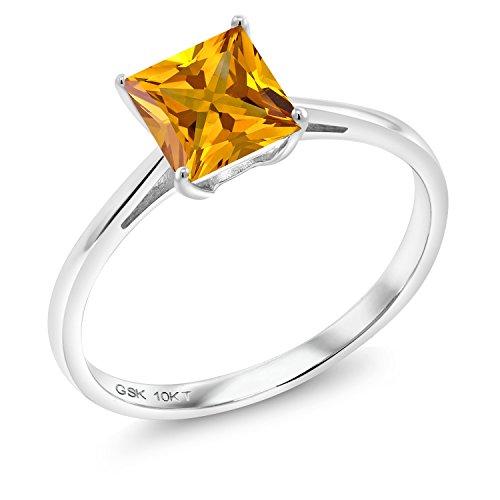 (1.00 Ct Princess Yellow Citrine 10K White Gold Ring (Size 7))