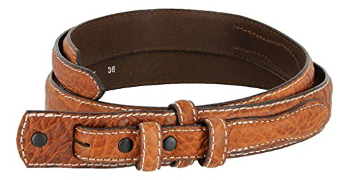 Western Ranger Genuine Leather Bison Belt Strap for Men (Tan, 38)