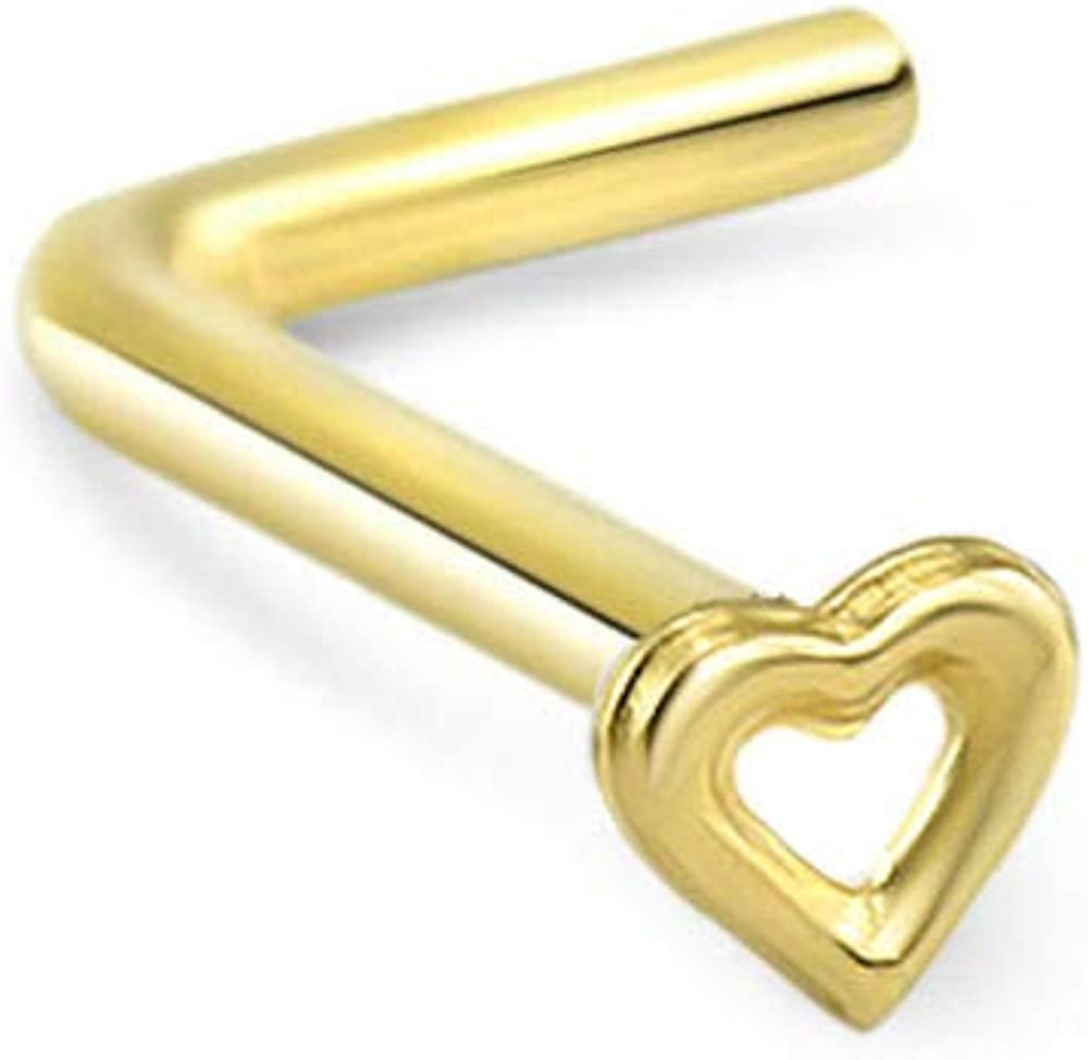 14K Solid Gold L Bend Heart Stud Nose Ring Screw Body Piercing Jewelry