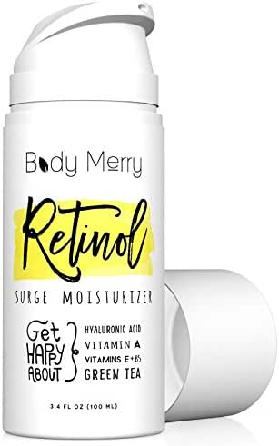 Body Merry Retinol Moisturizer Anti Aging/Wrinkle & Acne Face Moisturizer Cream w Hyaluronic Acid + Vitamins; Deep Hydration for Men & Women! 3.4 oz
