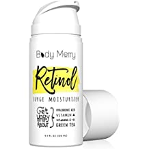 Body Merry Retinol Moisturizer - Generous 3.4 fl oz Anti-Aging/Wrinkle & Acne Face Cream w Natural + Organic Actives like Hyaluronic Acid + Vitamins; Deep Hydration Day or Night for Men & Women