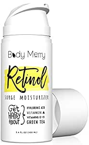 Body Merry Retinol Surge Moisturizer - All in one anti aging / wrinkle & acne face cream w natural Hyaluronic Acid + Vitamins for day and night use - Perfect for men & women for deep hydration & care