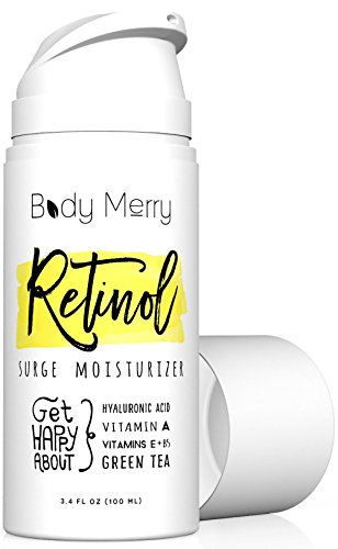 Body Merry Retinol Moisturizer - Ample-sized 3.4 fl oz Anti Aging/Wrinkle & Acne Face Moisturizer Cream w Natural Hyaluronic Acid + Vitamins. Use day or night for deep hydration for men & women!