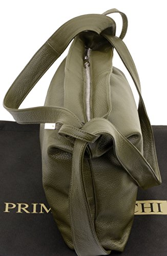Ladies Handbag Bag Textured Grab Leather Italian Green Backpack Shoulder Sacchi Primo R8p5qwaSp