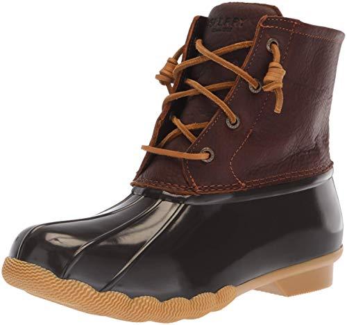 Brown Dark Rawhide Womens - Sperry Women's Saltwater Rain Boot, Tan/Dark Brown, 8 M US