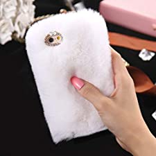 Plush Cover for iPhone xr 6.1 inch Case, Businda Cute Bunny Ears Case Luxury Winter Soft Warm Cover Fluffy Furry Rabbit Shockproof Back Bumper with Chic Bling Crystal Diamond- Pink