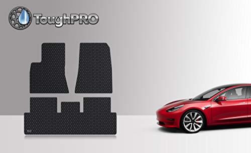 ToughPRO Tesla Model 3 Floor Mats Set - All Weather - Heavy Duty - Black Rubber - 2019 - (Made in USA) ()