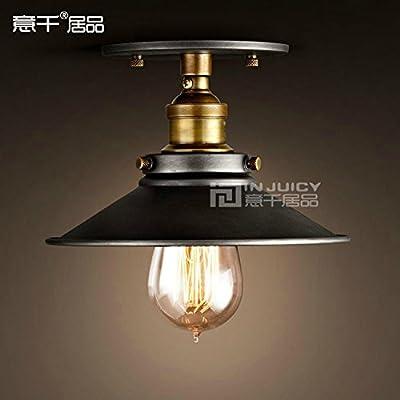 Injuicy Lighting 22CM Vintage Edison Industrial Loft Black Metal Shade Semi Flush Mount Ceiling Light Lamp Max 60W 1 Light Painted Finish