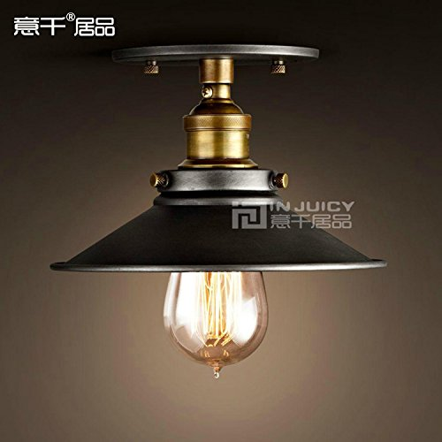 Cheap Injuicy Lighting 22CM Vintage Edison Industrial Loft Black Metal Shade Semi Flush Mount Ceiling Light Lamp Max 60W 1 Light Painted Finish