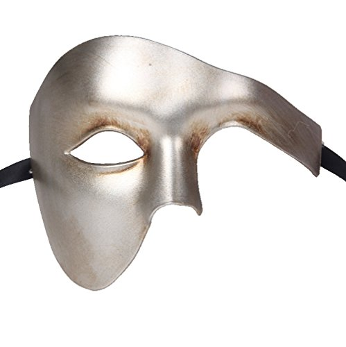 Burlesque Costumes Mens (Luxury Mask Men's Phantom Of The Opera Masquerade Mask Vintage Design, Silver Half Face, One)