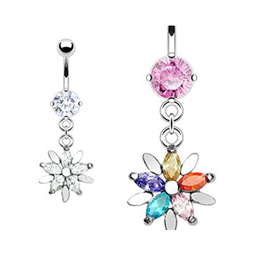 - MsPiercing Navel Ring With Dangling Jeweled Flower, Multicolor
