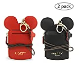 YIEASDA Travel Neck Pouch, Cute Small Fashion Student ID Card Case Holder Coin Wallet Purse for Women/Girls/Children (Black+Red)