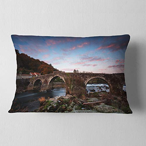 Designart CU9424-12-20 Old Roman Bridge in Spain' Landscape Photo Throw Lumbar Cushion Pillow Cover for Living Room, Sofa, 12 in. x 20 in, Pillow Insert + Cushion Cover Printed on Both Side by Designart